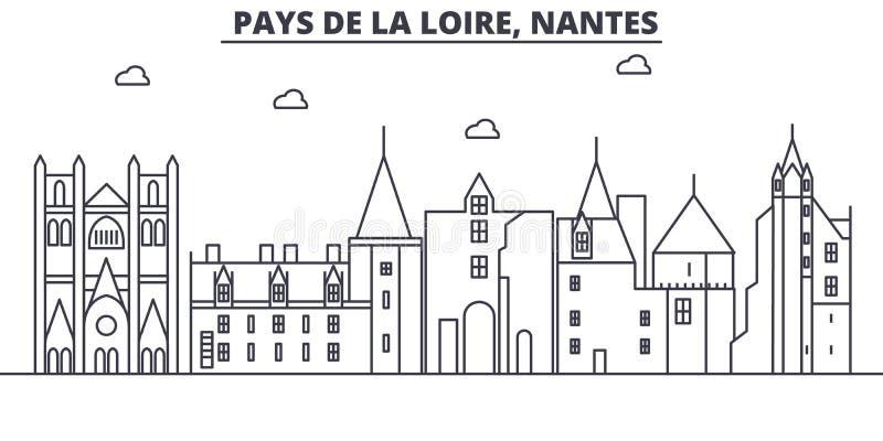Linha ilustração da arquitetura de França, Nantes da skyline Arquitetura da cidade linear com marcos famosos, vistas do vetor da  ilustração do vetor