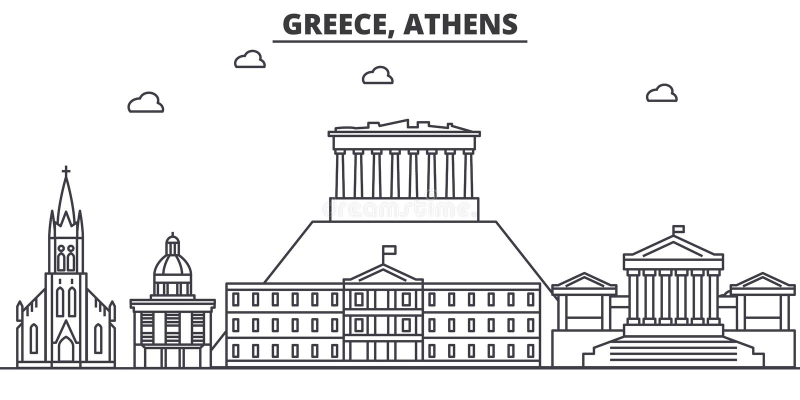 Linha ilustração da arquitetura de Grécia, Atenas da skyline Arquitetura da cidade linear com marcos famosos, vistas do vetor da  ilustração do vetor