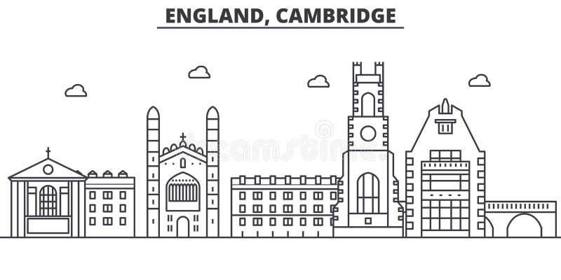 Linha ilustração da arquitetura de Inglaterra, Cambridge da skyline Arquitetura da cidade linear com marcos famosos, vistas do ve ilustração royalty free