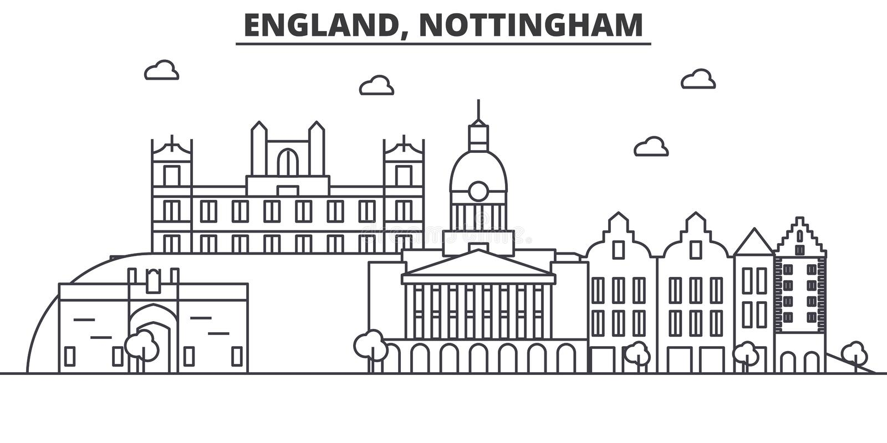 Linha ilustração da arquitetura de Inglaterra, Nottingham da skyline Arquitetura da cidade linear com marcos famosos, vistas do v ilustração royalty free