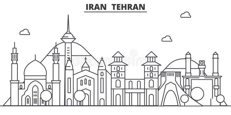 Linha ilustração da arquitetura de Irã, Tehran da skyline Arquitetura da cidade linear com marcos famosos, vistas do vetor da cid ilustração stock
