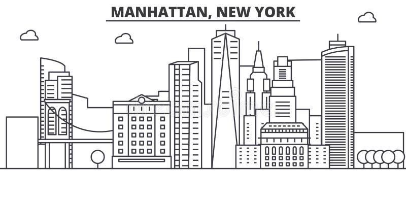 Linha ilustração da arquitetura de Manhattan, New York da skyline Arquitetura da cidade linear com marcos famosos, vistas do veto ilustração stock