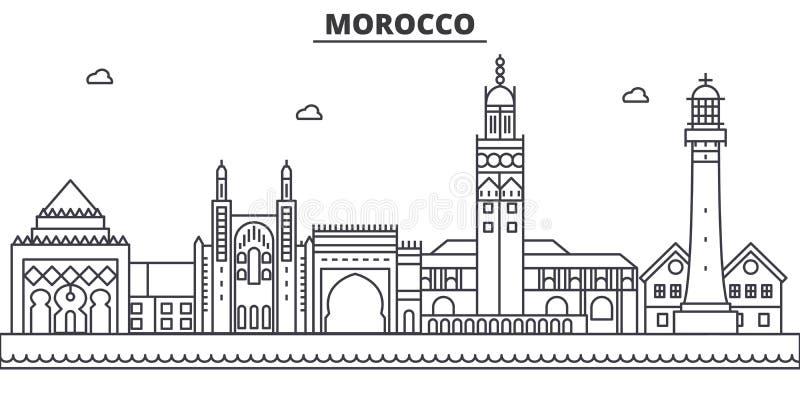 Linha ilustração da arquitetura de Marrocos da skyline Arquitetura da cidade linear com marcos famosos, vistas do vetor da cidade ilustração do vetor