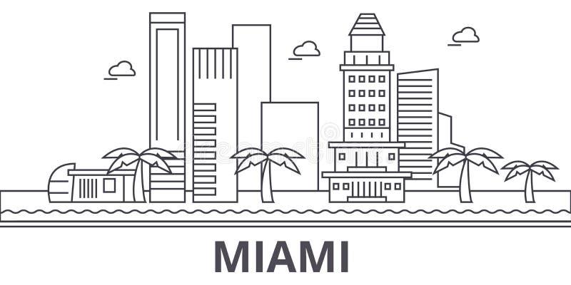Linha ilustração da arquitetura de Miami da skyline Arquitetura da cidade linear com marcos famosos, vistas do vetor da cidade, í ilustração royalty free