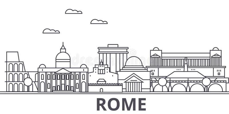 Linha ilustração da arquitetura de Roma da skyline Arquitetura da cidade linear com marcos famosos, vistas do vetor da cidade, íc ilustração stock