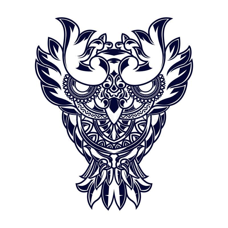 Linha ilustração da arte das corujas com ornamento da mandala ilustração do vetor