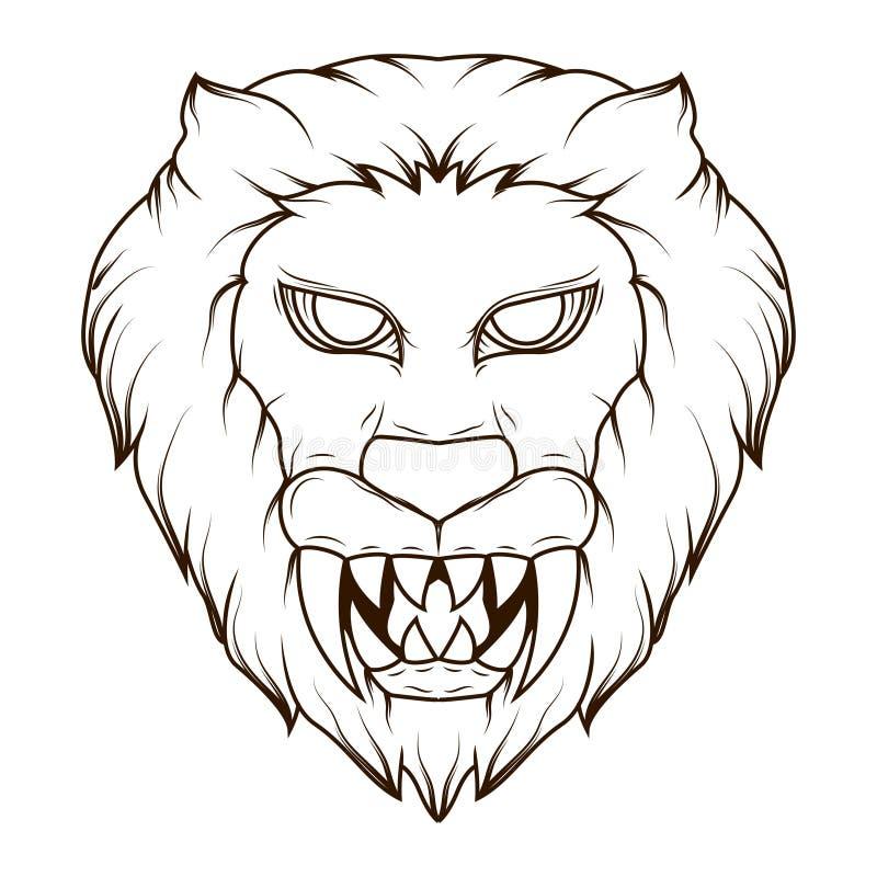 Linha ilustração da arte de um demônio principal do leão assustador com colmilhos afiados ilustração do vetor