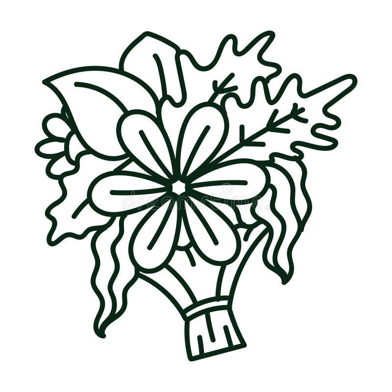 Linha ilustração da arte de um ramalhete das flores e das plantas ilustração do vetor