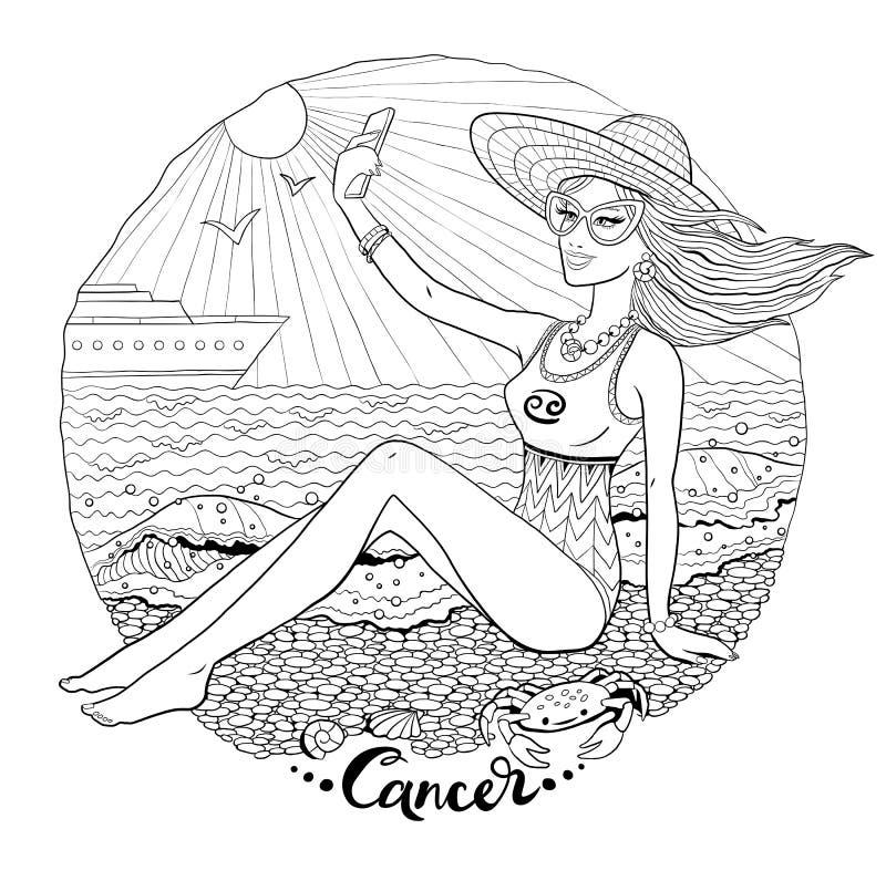 Linha ilustração da arte do sinal do zodíaco do câncer ilustração royalty free