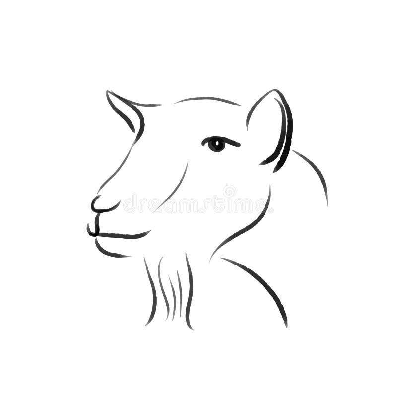 Linha ilustração da cabra uma da cópia da tração ilustração do vetor