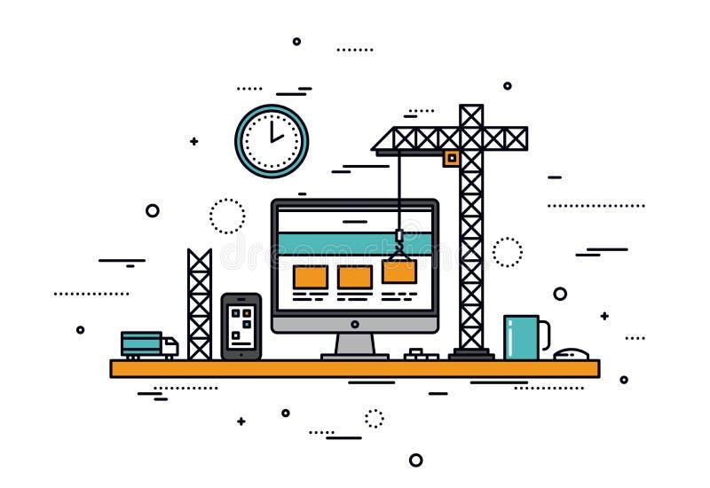 Linha ilustração da construção do Web site do estilo