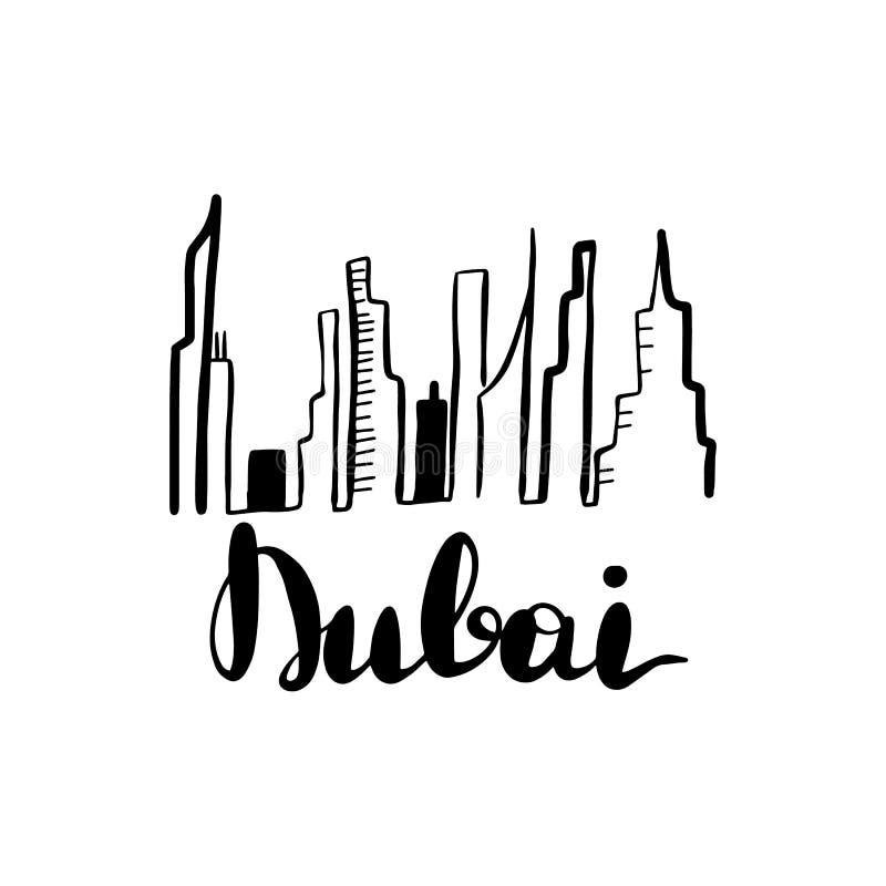 Linha ilustração da paisagem de Dubai da arte ilustração royalty free