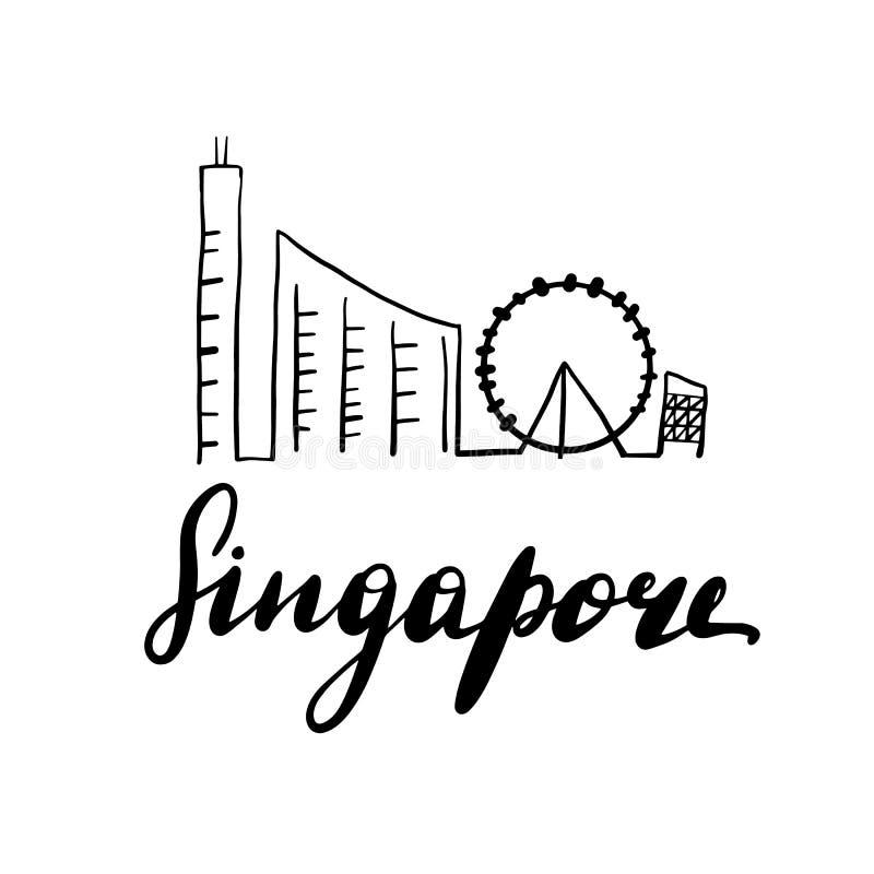 Linha ilustração da paisagem de Singapura da arte ilustração royalty free