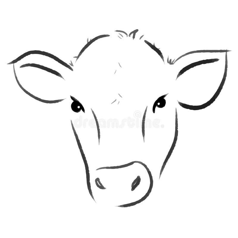 Linha ilustração da vaca uma do vetor da cópia da tração ilustração royalty free