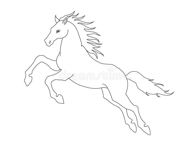 Linha Ilustracao De Cavalo De Salto Para Livros Para Colorir
