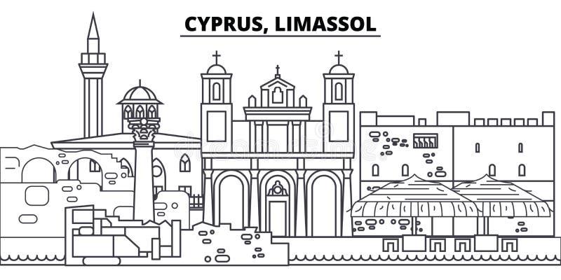 Linha ilustração de Chipre, Limassol do vetor da skyline Chipre, arquitetura da cidade linear com marcos famosos, vistas de Limas ilustração stock