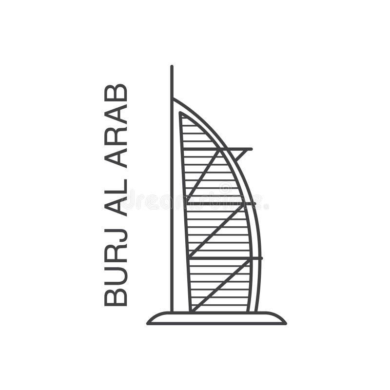 Linha ilustração de Dubai Burj Al Arab da arte ilustração stock