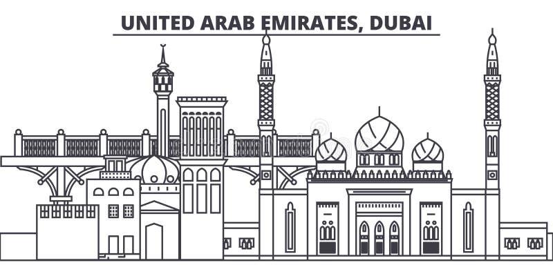 Linha ilustração de Emiratos Árabes Unidos, Dubai do vetor da skyline Emiratos Árabes Unidos, arquitetura da cidade linear de Dub ilustração royalty free