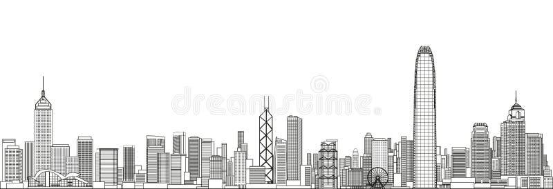 Linha ilustração detalhada da arquitetura da cidade de Hong Kong do vetor do estilo da arte Fundo do curso ilustração stock