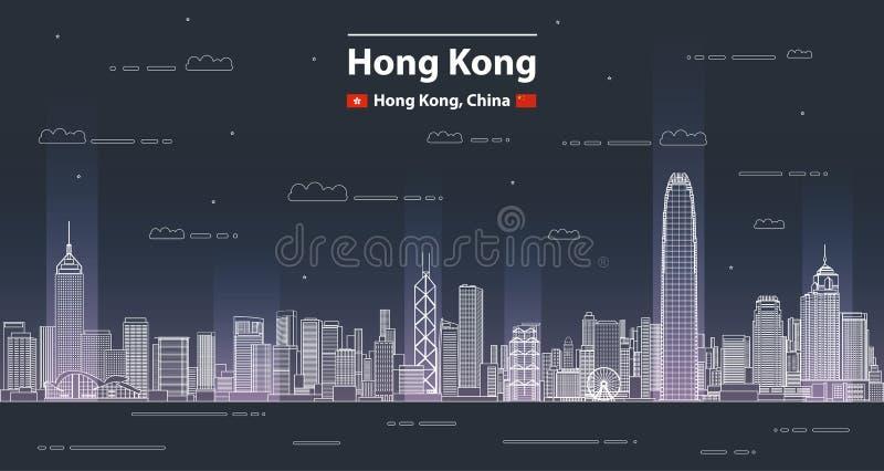 Linha ilustração detalhada da arquitetura da cidade de Hong Kong do vetor do estilo da arte Fundo do curso ilustração do vetor