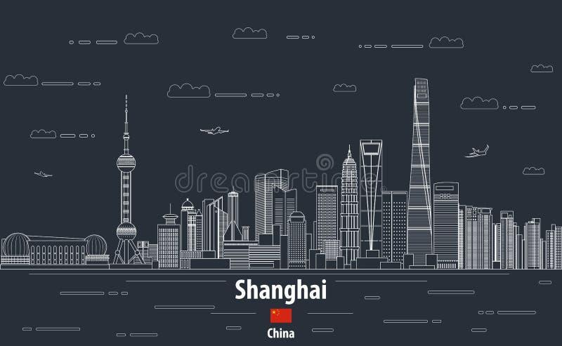Linha ilustração detalhada da arquitetura da cidade de Shanghai do vetor do estilo da arte Fundo do curso ilustração do vetor