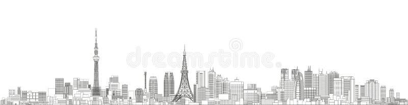 Linha ilustração detalhada da arquitetura da cidade do Tóquio do vetor do estilo da arte Fundo do curso ilustração stock