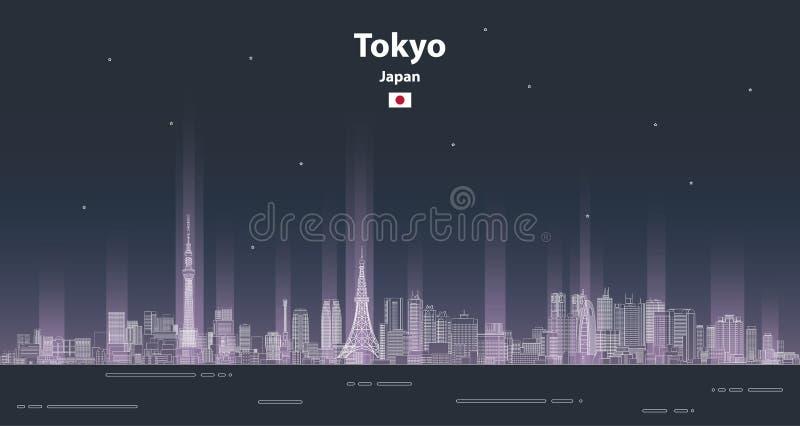 Linha ilustração detalhada da arquitetura da cidade do Tóquio do vetor do estilo da arte Fundo do curso fotografia de stock