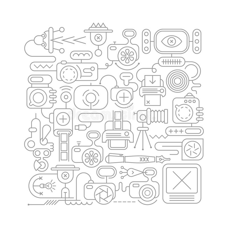 Linha ilustração do equipamento da foto do vetor da arte ilustração royalty free