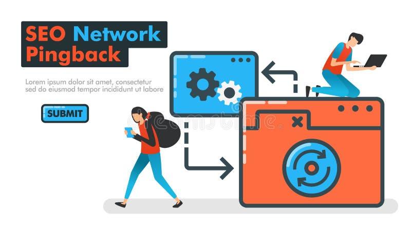 Linha ilustração do pingback da rede de SEO do vetor Os povos tentam sibilar na rede do Web site para tentar sobre a otimização e ilustração royalty free
