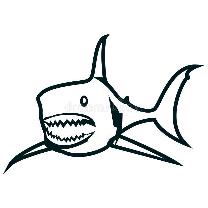 Linha ilustração do tubarão do vetor da arte Projeto simples do esboço do tubarão ilustração royalty free