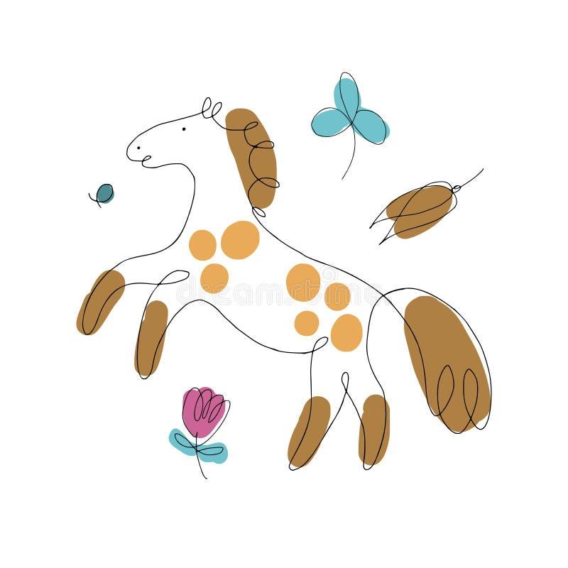 Linha ilustração dos cavalos das formas ilustração do vetor