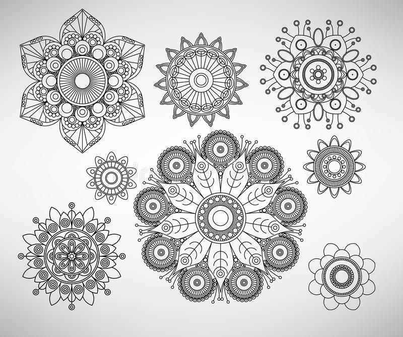 Linha ilustrações complexas da flor da arte ilustração stock
