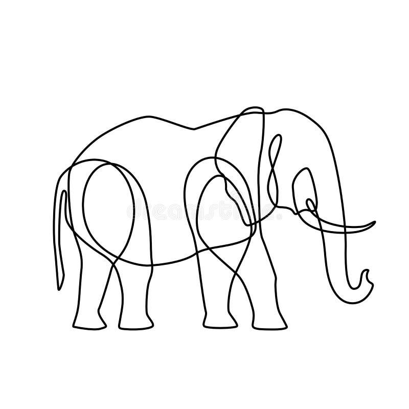 Linha infinita ilustração da arte do elefante Desenho de esboço preto contínuo no fundo branco ilustração do vetor
