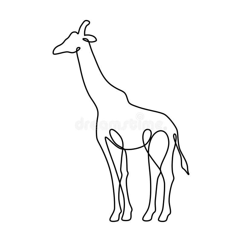 Linha infinita ilustração da arte do girafa Desenho de esboço preto contínuo no fundo branco ilustração royalty free
