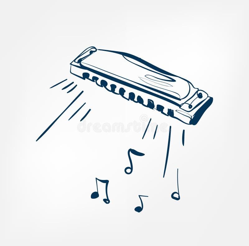 Linha instrumento do esboço da harmônica de música do projeto ilustração stock