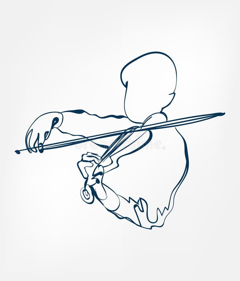 Linha instrumento do esboço do violino das mãos de música do projeto do vetor ilustração royalty free