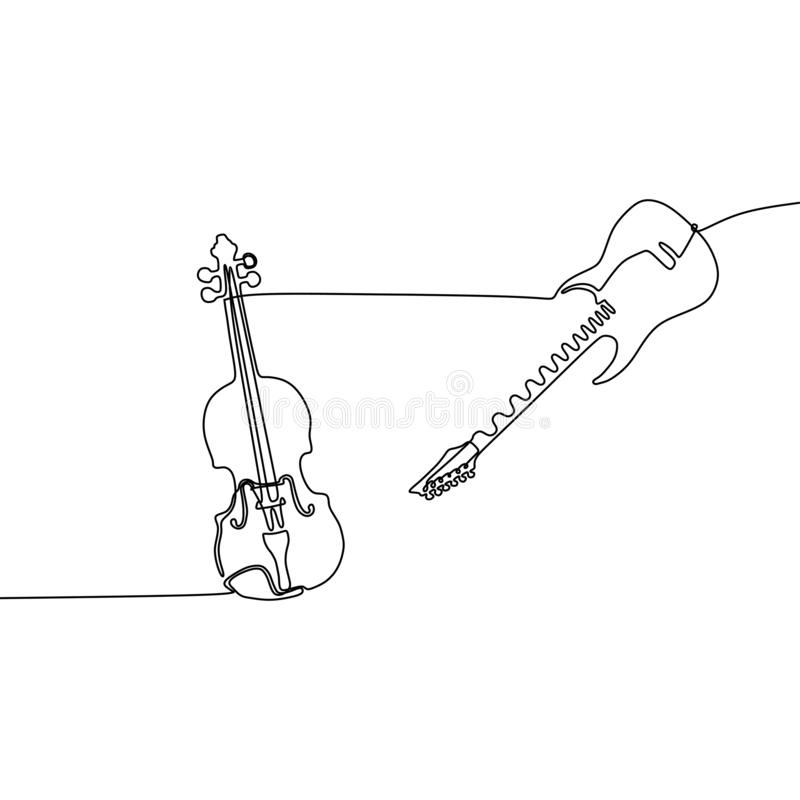 A linha instrumentos musicais do violino e da guitarra elétrica uma projeta Ilustra??o tirada m?o do vetor do estilo do minimalis ilustração do vetor