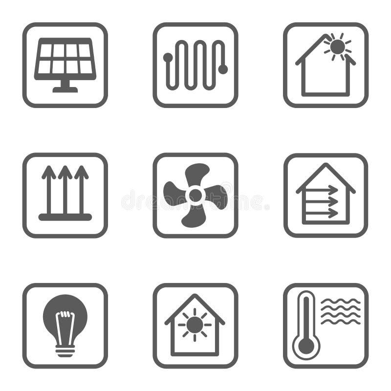 Linha inteligente grupo da casa dos ícones Casa esperta ilustração royalty free
