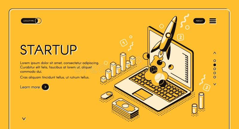 Linha isométrica ilustração do negócio Startup do vetor ilustração stock