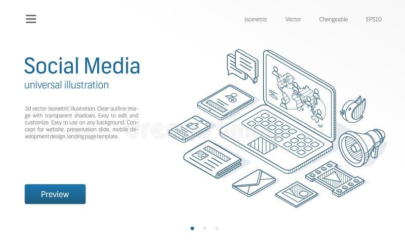 Linha isométrica moderna ilustração da rede social dos meios O feed noticioso, índice do cargo, negócio comunica o esboço tirado ilustração do vetor
