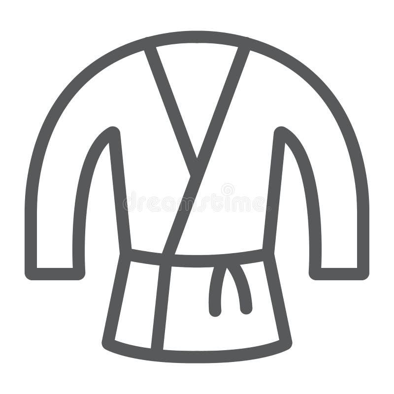 Linha japonesa ícone do quimono, asiático e roupa, sinal do traje de japão, gráficos de vetor, um teste padrão linear em um branc ilustração stock