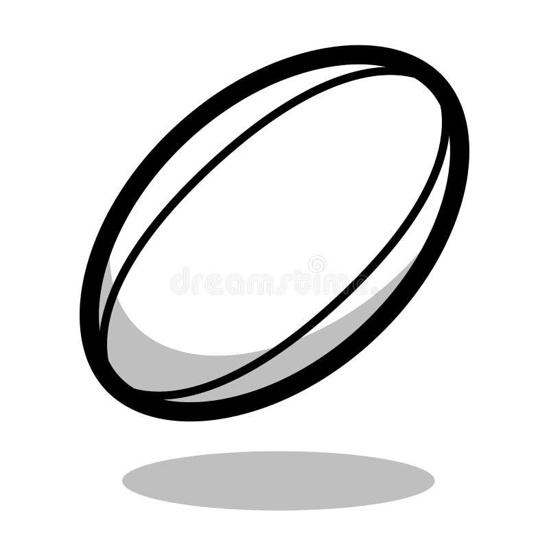 A linha jogo do vetor do logotipo da bola do esporte do futebol de Europa do rugby de 3d isolou o ícone no fundo branco ilustração do vetor