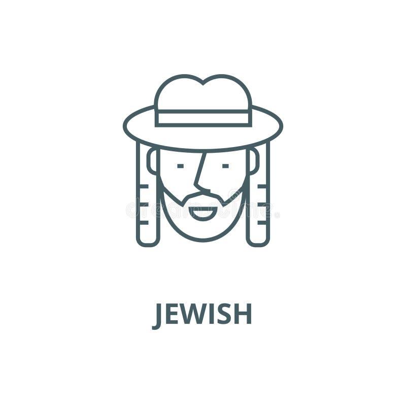 Linha judaica ícone do vetor, conceito linear, sinal do esboço, símbolo ilustração royalty free