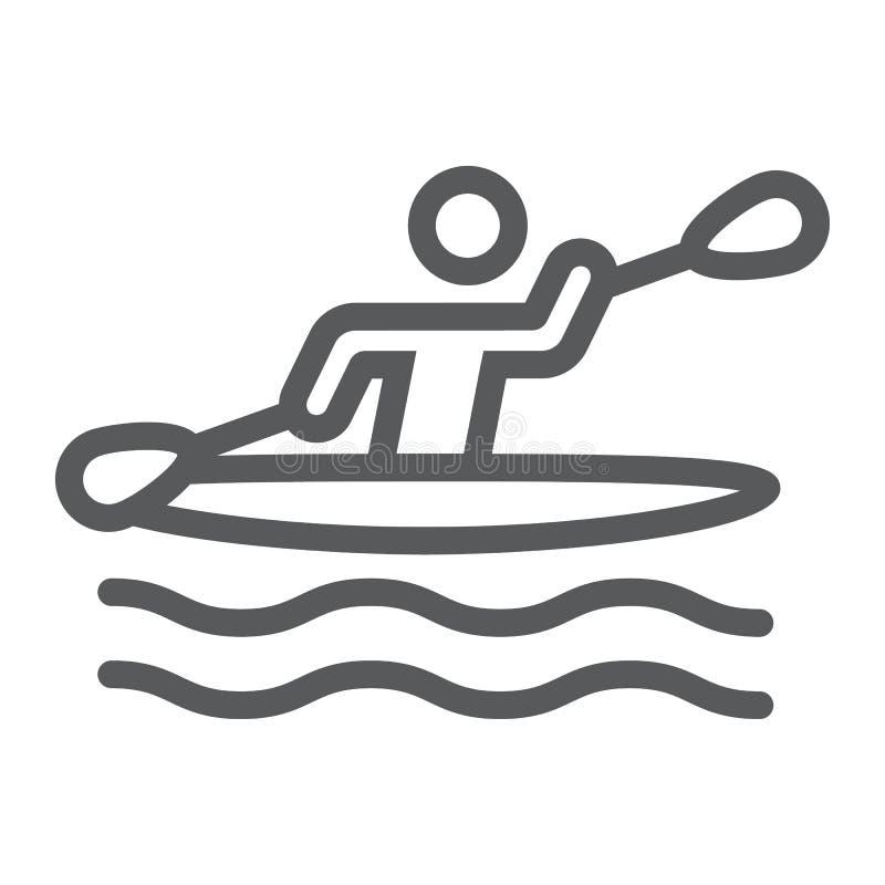 Linha kayaking ícone do homem, esporte e enfileiramento, sinal canoeing, gráficos de vetor, um teste padrão linear em um fundo br ilustração royalty free