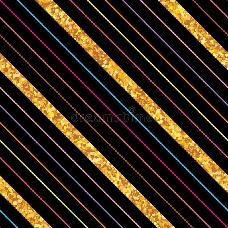 Linha lateral teste padrão sem emenda do brilho dourado da listra ilustração stock