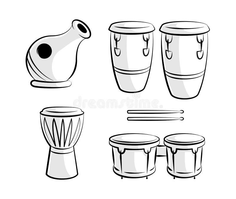 Linha latino arte dos ícones do instrumento do cilindro da percussão ilustração stock