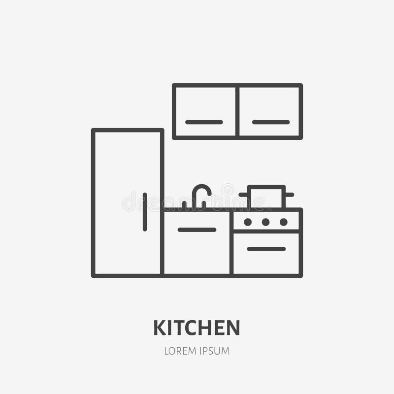 Linha lisa ícone da cozinha Sinal da mobília do apartamento, ilustração do vetor do refrigerador, fogão Logotipo linear fino para ilustração stock