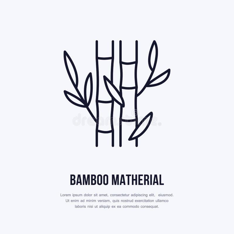Linha lisa ícone da fibra de bambu Sinal do vetor para a propriedade matherial ilustração stock