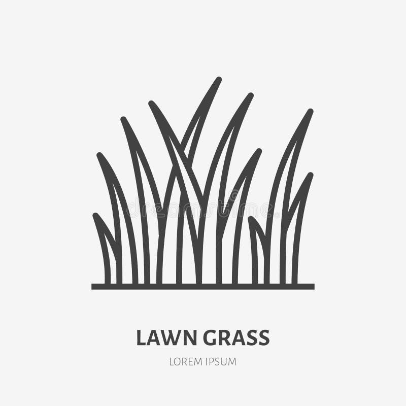 Linha lisa ícone da grama do gramado Sinal fino do vetor da plantação Ajardinando, ilustração do prado ilustração royalty free