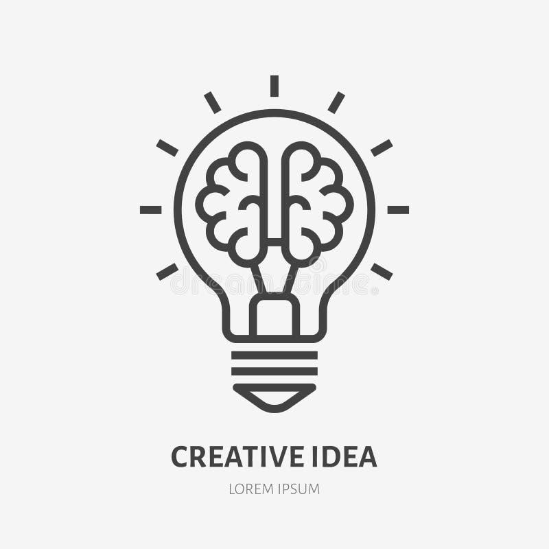 Linha lisa ícone da ideia criativa Cérebro na ilustração do vetor da ampola Sinal fino da inovação, solução, logotipo da  ilustração stock